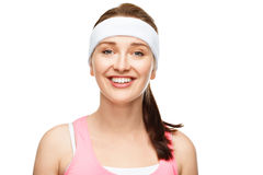 Closeup portrait happy athletic woman in gym clothes Stock Image