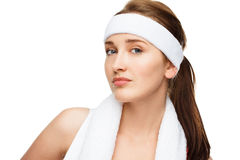 Closeup portrait happy athletic woman tennis player Royalty Free Stock Image
