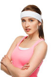 Closeup portrait happy athletic woman tennis player sportswoman Royalty Free Stock Photography