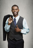 Closeup portrait happy businessman giving thumbs up stock photo