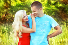 Closeup portrait of happy couple Royalty Free Stock Images