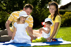 A closeup portrait of a happy family picnic Royalty Free Stock Photo