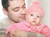 Closeup portrait of happy father and baby Stock Photography