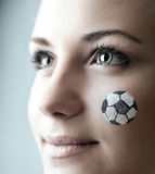 Closeup portrait of a happy football fan Royalty Free Stock Images