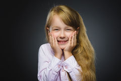 Closeup Portrait happy girl going surprise  on gray background Stock Photography