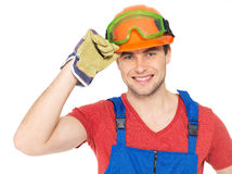 Portrait of happy handyman in uniform Stock Photos