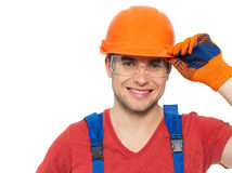 Portrait of happy handyman in uniform Stock Photo
