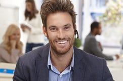 Closeup portrait of happy male dispatcher Stock Photo