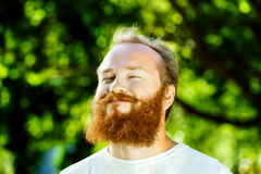 Closeup portrait of happy mature man with red beard Royalty Free Stock Photography