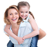 Closeup portrait of happy mother and young daughter Royalty Free Stock Photography