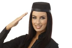 Closeup portrait of happy saluting air hostess Royalty Free Stock Photo