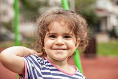 Closeup portrait of happy smiling little girl. stock photography