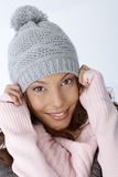 Closeup portrait of happy winter girl Stock Image