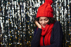 Closeup portrait of happy winter woman Royalty Free Stock Images