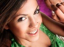 Closeup portrait of a happy woman smiling stock images