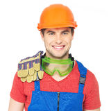 Portrait of happy handyman in uniform Royalty Free Stock Image