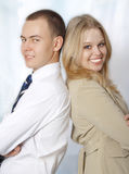 Closeup portrait of happy young business people Stock Photography