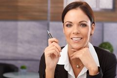 Closeup portrait of happy young businesswoman Stock Photos
