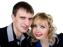 Closeup portrait of a happy young couple Royalty Free Stock Photography