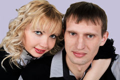 Closeup portrait of happy young couple Stock Photography