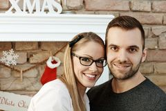 Closeup portrait of christmas couple stock photo
