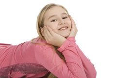 Closeup portrait of a happy young girl. Over white Royalty Free Stock Photo