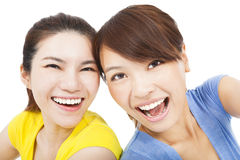 Closeup portrait of happy young girls Royalty Free Stock Photo