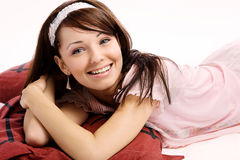 Closeup portrait of a happy young lady Stock Photo