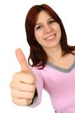 Closeup portrait of a happy young lady gesturing Stock Photography