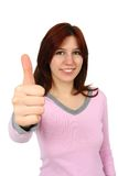 Closeup portrait of a happy young lady gesturing Stock Image