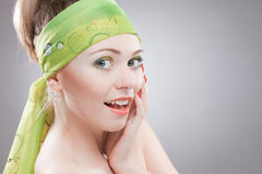 Closeup portrait of happy young woman Stock Image