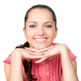 Closeup portrait of a happy young woman Royalty Free Stock Photos
