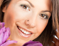 Closeup portrait of a happy young woman Royalty Free Stock Images
