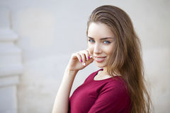 Closeup portrait of a happy young woman smiling Stock Image