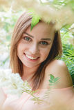 Closeup Portrait of a Happy Young Woman Smiling. Outdoor. Beauty Concept Stock Photo