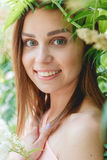 Closeup Portrait of a Happy Young Woman Smiling. Outdoor. Beauty Concept Royalty Free Stock Image