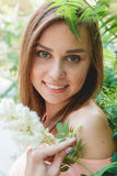 Closeup Portrait of a Happy Young Woman Smiling. Outdoor. Beauty Concept Stock Images