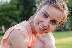 Closeup Portrait of a Happy Young Woman Smiling. Outdoor. Beauty Concept Stock Photos