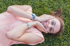 Closeup Portrait of a Happy Young Woman Smiling. Outdoor. Beauty Concept Royalty Free Stock Images
