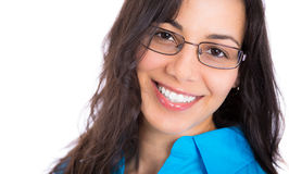 Closeup portrait headshot of a beautiful businesswoman with glsases Stock Images