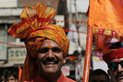 Closeup portrait of a Hindu devotee participate in Hanuman Jayanti procession Stock Photos