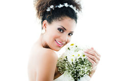Closeup portrait of hispanic bride holding flower Royalty Free Stock Photos