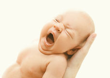 Closeup portrait of infant yawning on hands Royalty Free Stock Photography