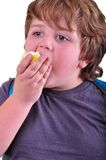 Closeup portrait of kid eating an apple Royalty Free Stock Photography