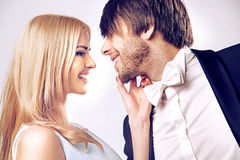 Closeup portrait of a kissing couple Royalty Free Stock Images
