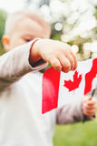 Closeup portrait of little blond Caucasian boy child hand holding Canadian flag. With red maple leaf  in park outside celebrating Canada Day Stock Photography