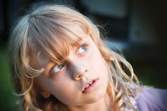 Closeup portrait of little blond girll Royalty Free Stock Images