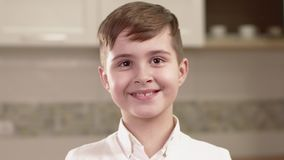 Closeup Portrait Of Little Boy Emotions. stock video
