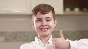 Closeup Portrait Of Little Boy Emotions. stock video footage