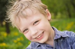 Closeup portrait of little cute funny boy royalty free stock image